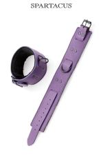 Bracelets chevilles cuir violet - Paire de menottes de chevilles en cuir violet de la gamme Crave Line - by Spartacus.