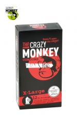 12 Préservatifs Crazy Monkey X-Large - 12 préservatifs taille XL, couleur rouge, avec saveur de fraise, pour les gros calibres par Crazy Monkey.